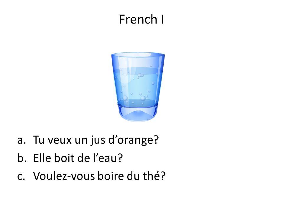 French I Tu veux un jus d'orange Elle boit de l'eau