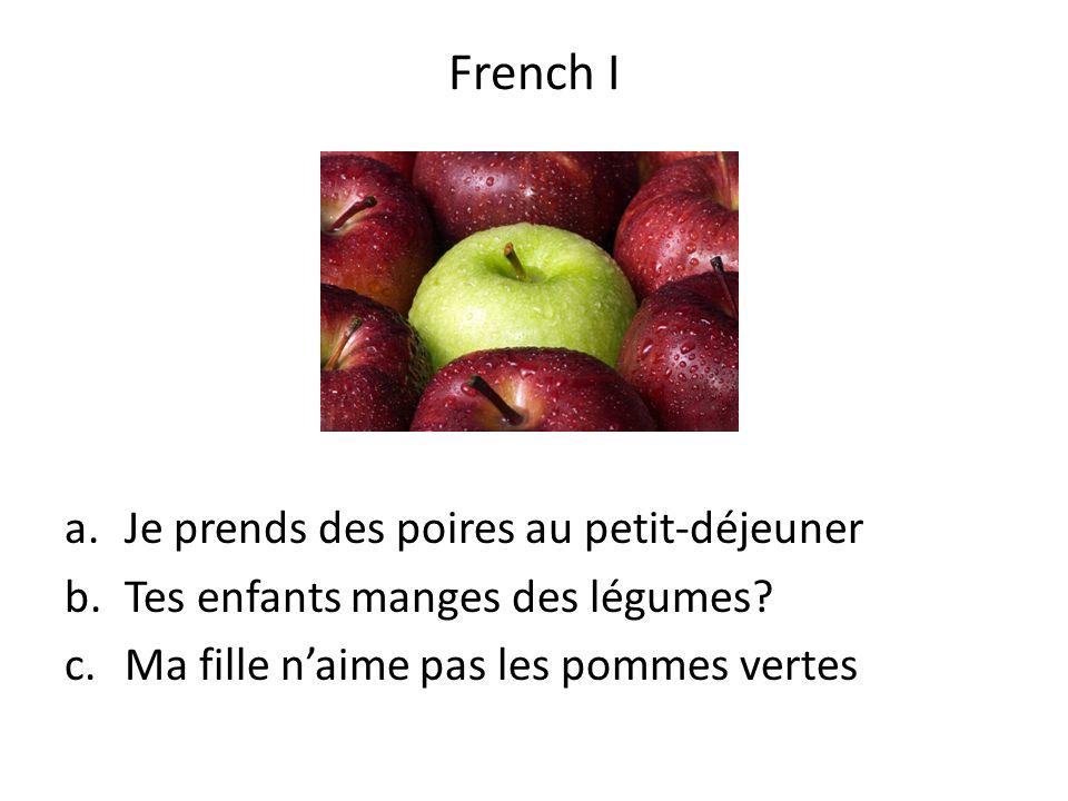 French I Je prends des poires au petit-déjeuner