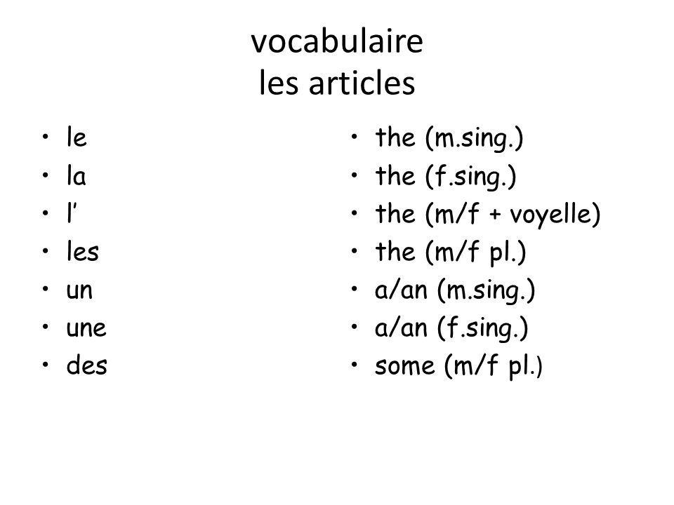 vocabulaire les articles