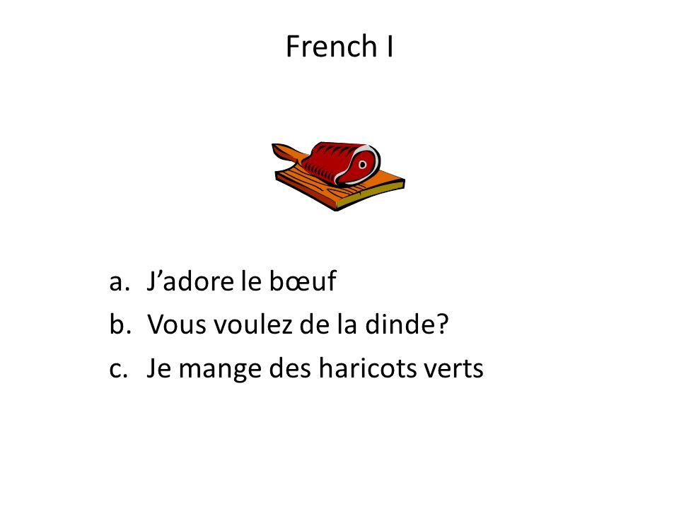French I J'adore le bœuf Vous voulez de la dinde