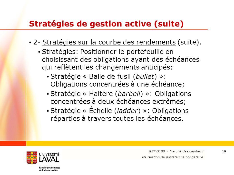 Stratégies de gestion active (suite)