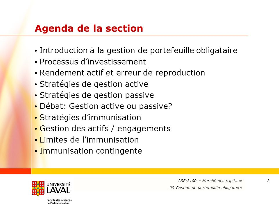 Agenda de la section Introduction à la gestion de portefeuille obligataire. Processus d'investissement.