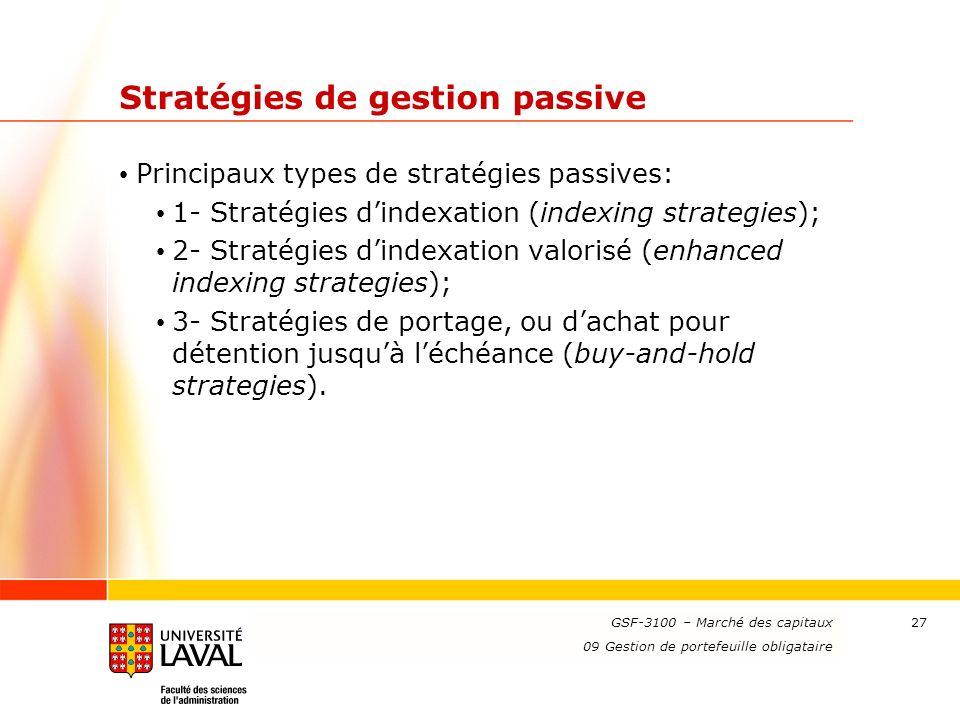 Stratégies de gestion passive