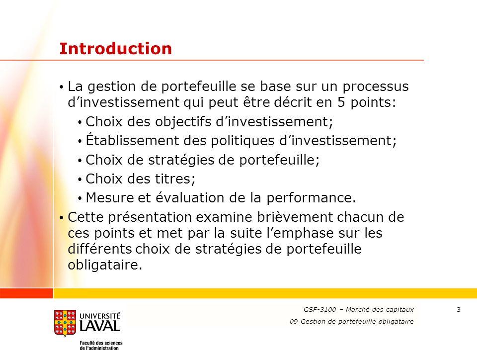 Introduction La gestion de portefeuille se base sur un processus d'investissement qui peut être décrit en 5 points:
