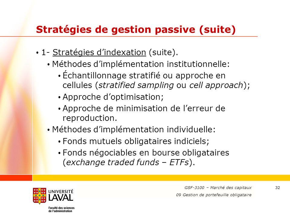 Stratégies de gestion passive (suite)
