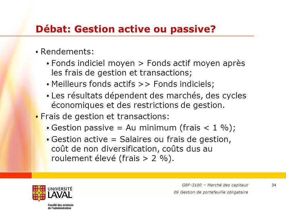 Débat: Gestion active ou passive