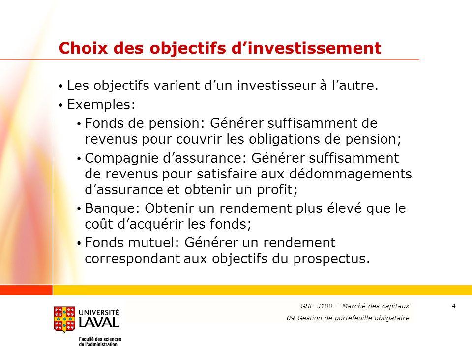 Choix des objectifs d'investissement