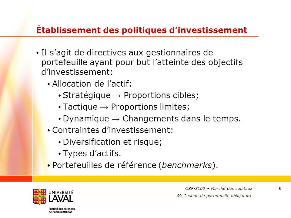 Établissement des politiques d'investissement