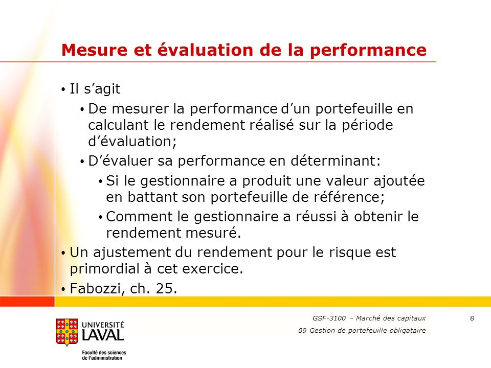 Mesure et évaluation de la performance