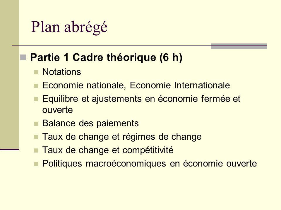 Plan abrégé Partie 1 Cadre théorique (6 h) Notations