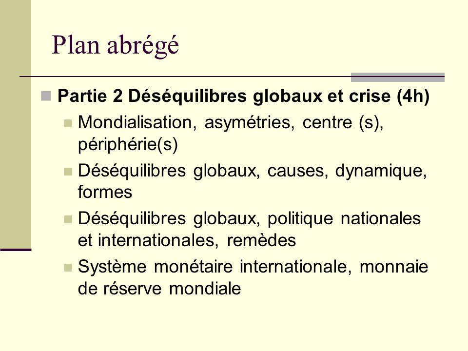 Plan abrégé Partie 2 Déséquilibres globaux et crise (4h)