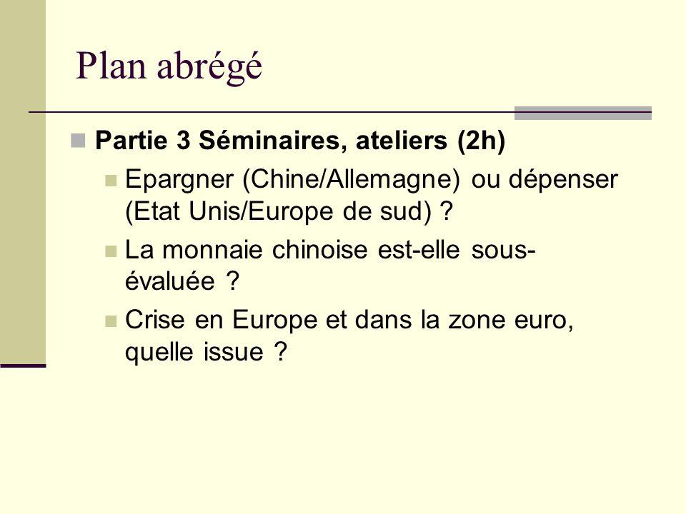 Plan abrégé Partie 3 Séminaires, ateliers (2h)
