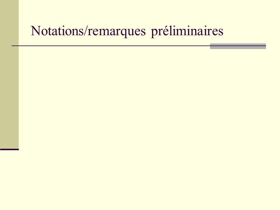 Notations/remarques préliminaires