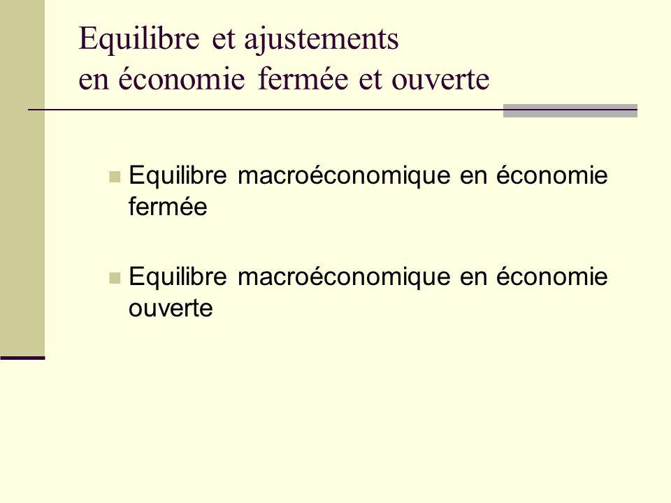 Equilibre et ajustements en économie fermée et ouverte