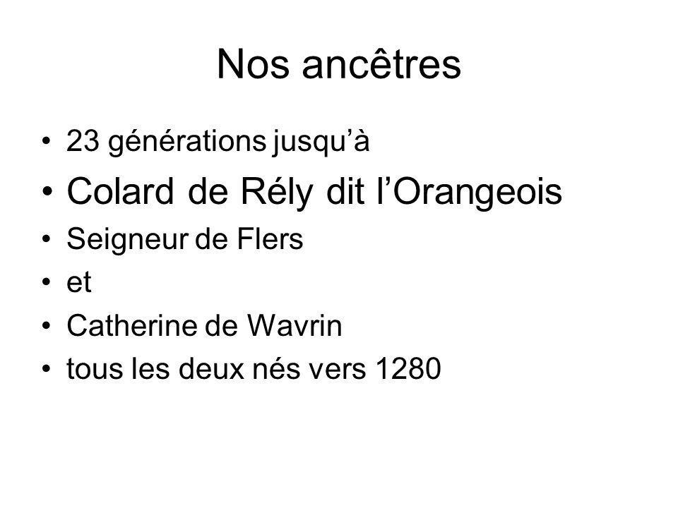 Nos ancêtres Colard de Rély dit l'Orangeois 23 générations jusqu'à