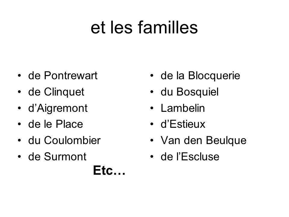et les familles Etc… de Pontrewart de Clinquet d'Aigremont de le Place