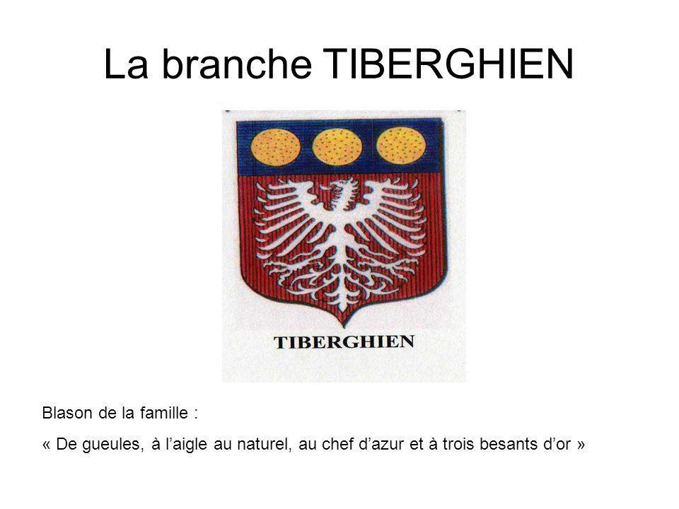 La branche TIBERGHIEN Blason de la famille :