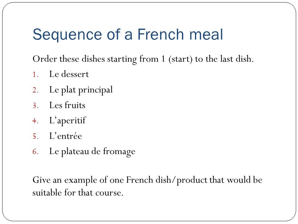 Sequence of a French meal