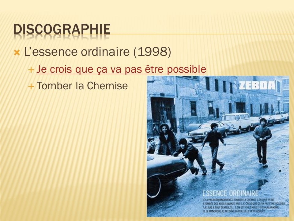 Discographie L'essence ordinaire (1998)