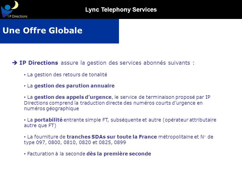 Une Offre Globale  IP Directions assure la gestion des services abonnés suivants : La gestion des retours de tonalité.
