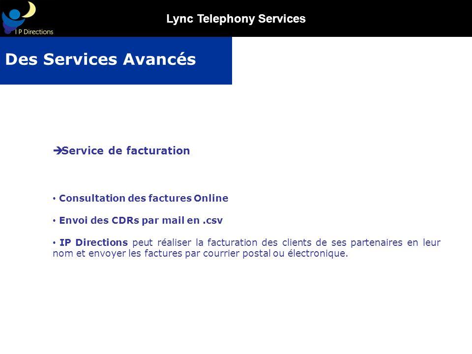 Des Services Avancés Service de facturation