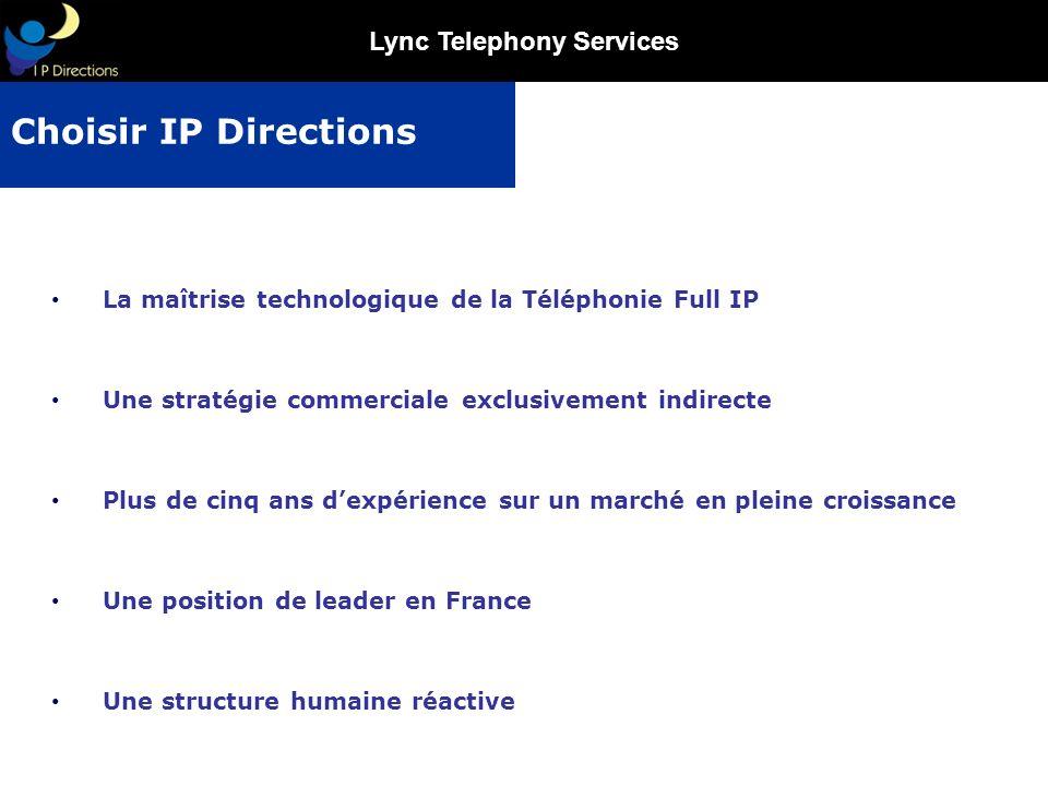 Choisir IP Directions La maîtrise technologique de la Téléphonie Full IP. Une stratégie commerciale exclusivement indirecte.