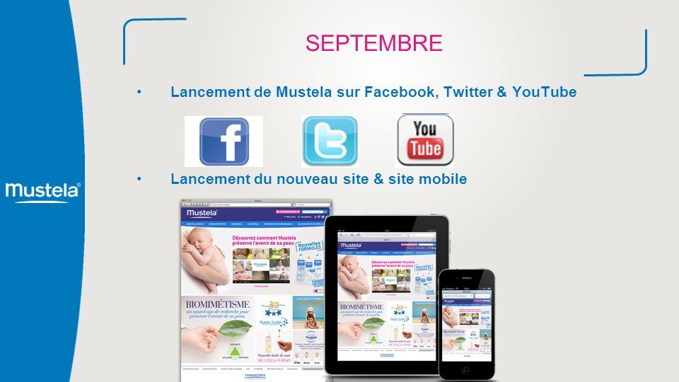 SEPTEMBRE Lancement de Mustela sur Facebook, Twitter & YouTube