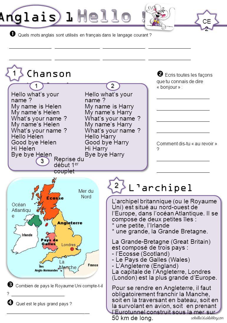 Hello ! Anglais 1 Chanson Hello ! L'archipel britannique