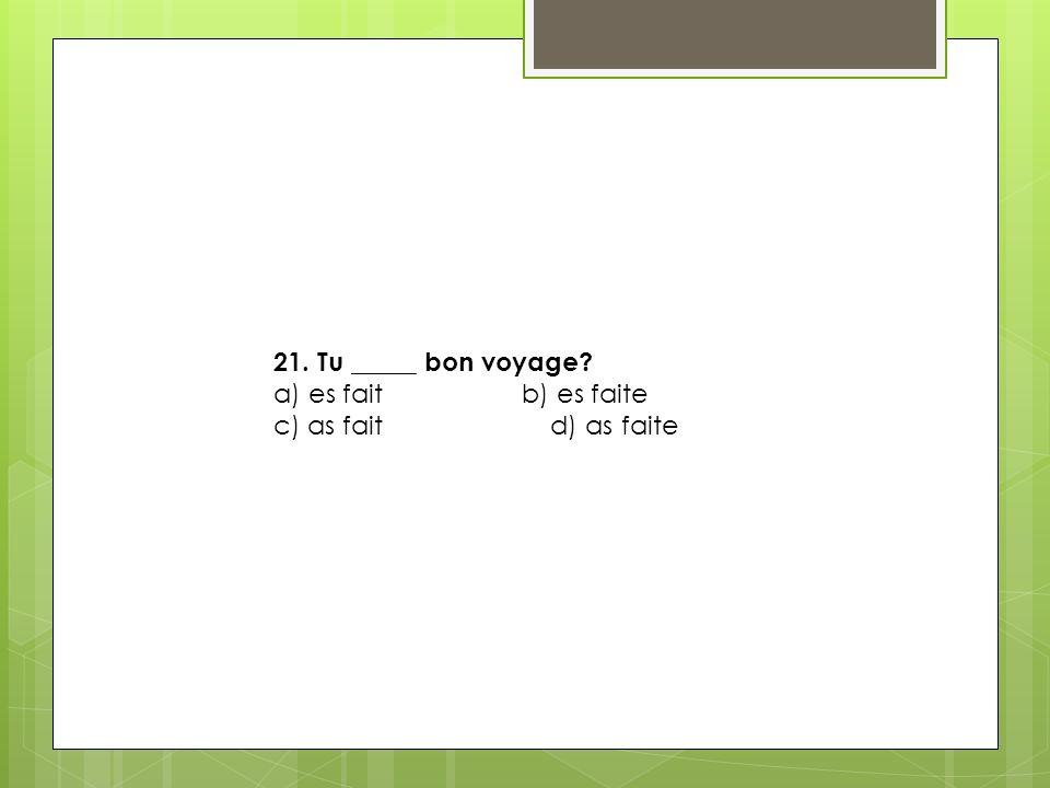 21. Tu _____ bon voyage.