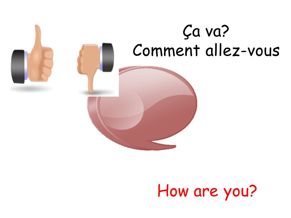 Ça va Comment allez-vous How are you