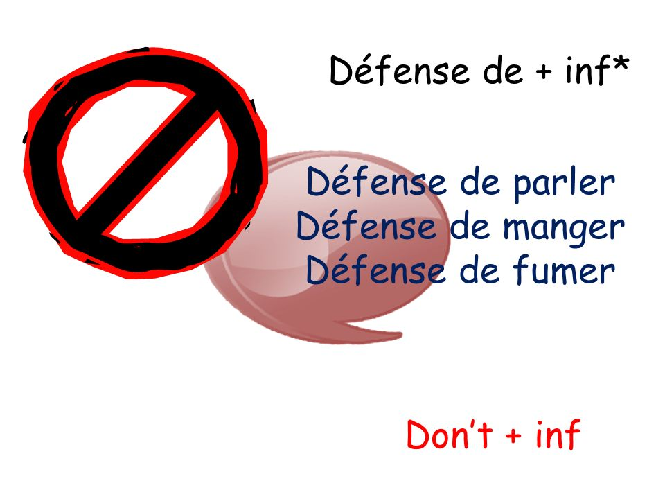 Défense de + inf* Défense de parler Défense de manger Défense de fumer Don't + inf