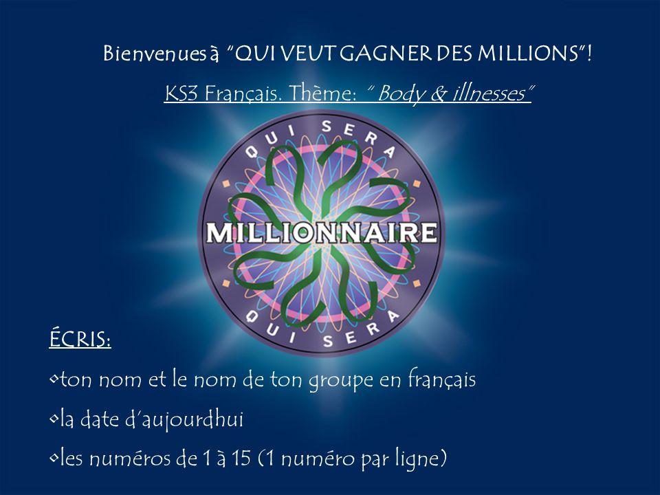 Bienvenues à QUI VEUT GAGNER DES MILLIONS !