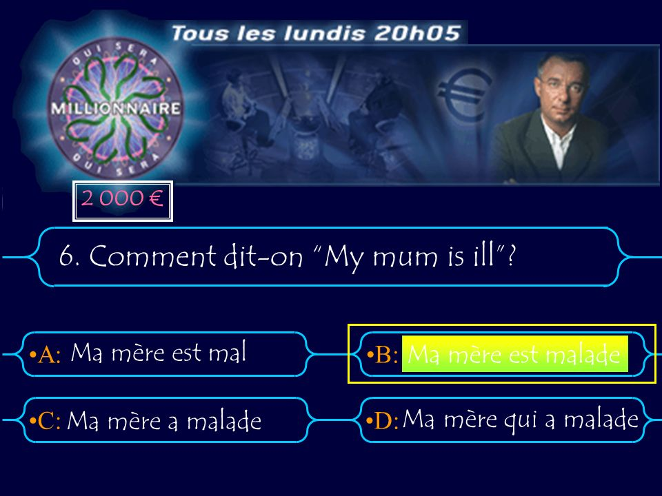 6. Comment dit-on My mum is ill