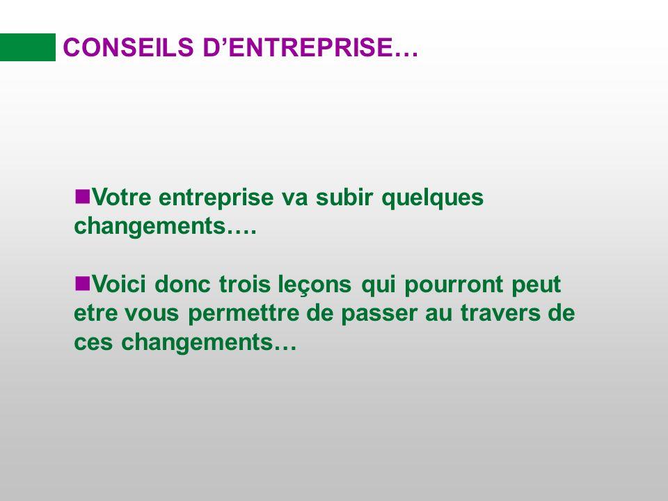 CONSEILS D'ENTREPRISE…