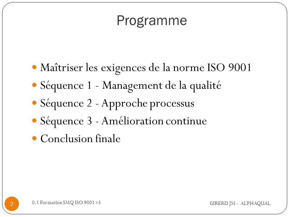 Programme Maîtriser les exigences de la norme ISO 9001