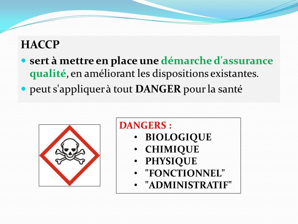 HACCP sert à mettre en place une démarche d assurance qualité, en améliorant les dispositions existantes.