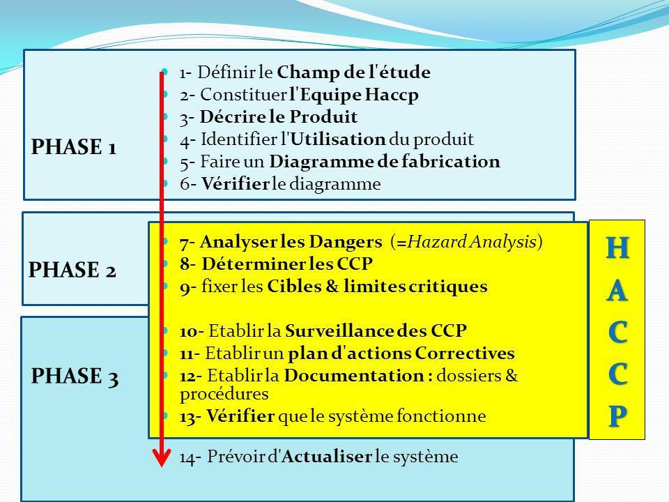 HACCP PHASE 1 PHASE 2 PHASE 3 1- Définir le Champ de l étude