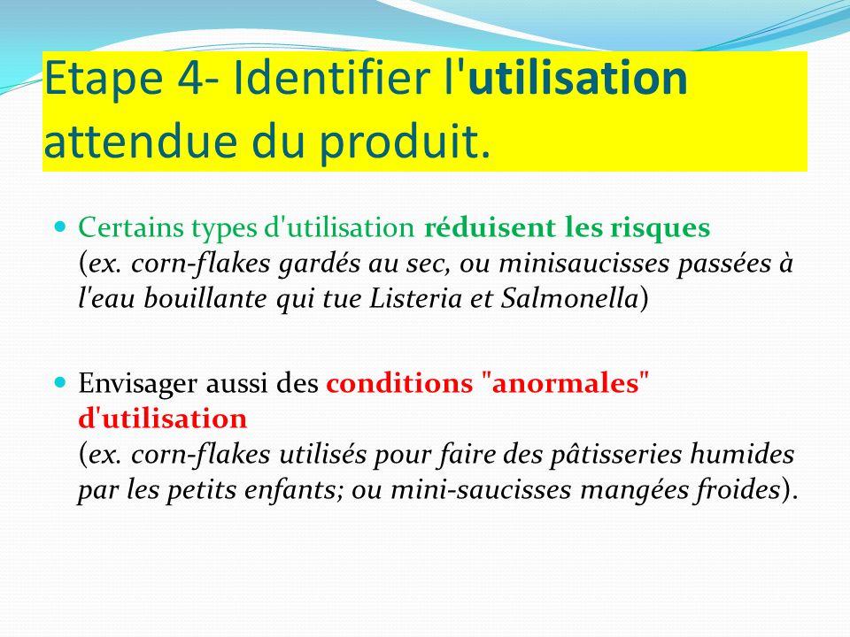 Etape 4- Identifier l utilisation attendue du produit.