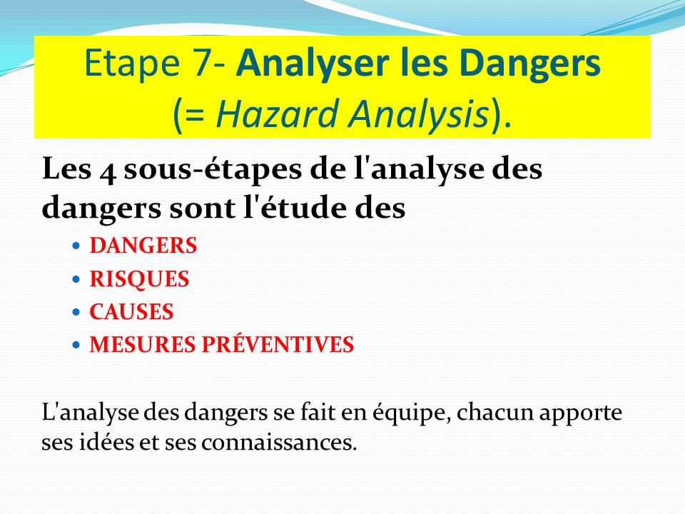 Etape 7- Analyser les Dangers (= Hazard Analysis).