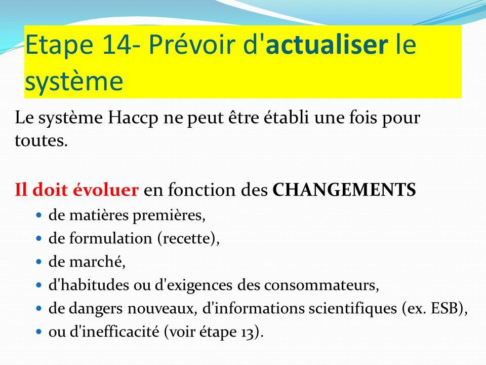 Etape 14- Prévoir d actualiser le système