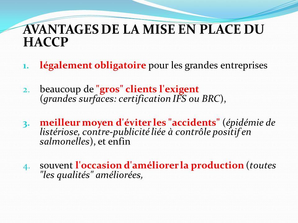 AVANTAGES DE LA MISE EN PLACE DU HACCP