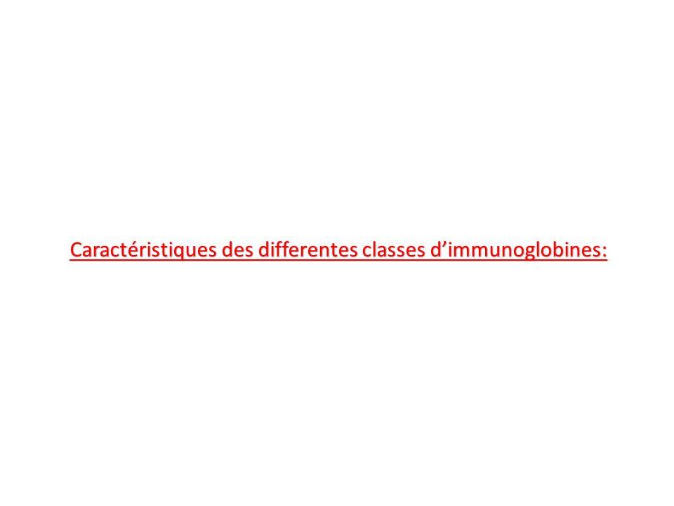 Caractéristiques des differentes classes d'immunoglobines: