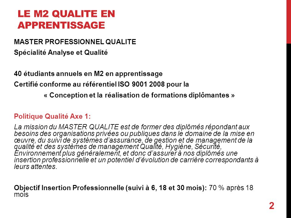 Le M2 Qualite en apprentissage