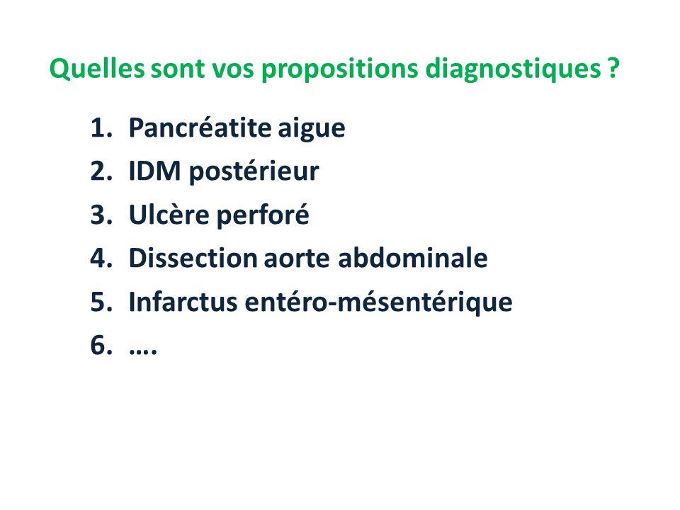 Quelles sont vos propositions diagnostiques