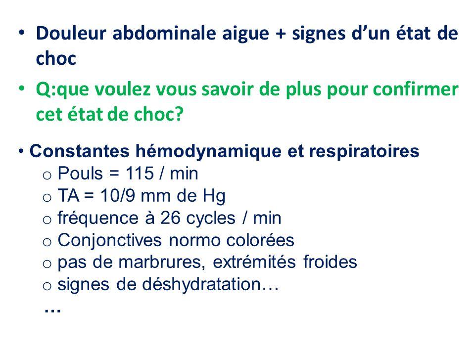 Douleur abdominale aigue + signes d'un état de choc