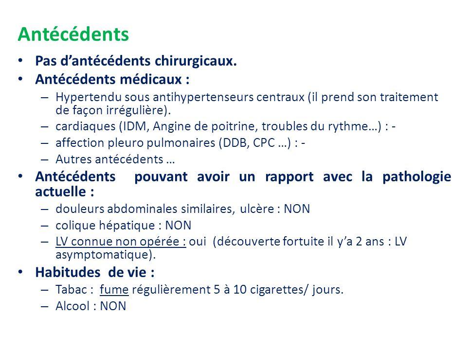 Antécédents Pas d'antécédents chirurgicaux. Antécédents médicaux :
