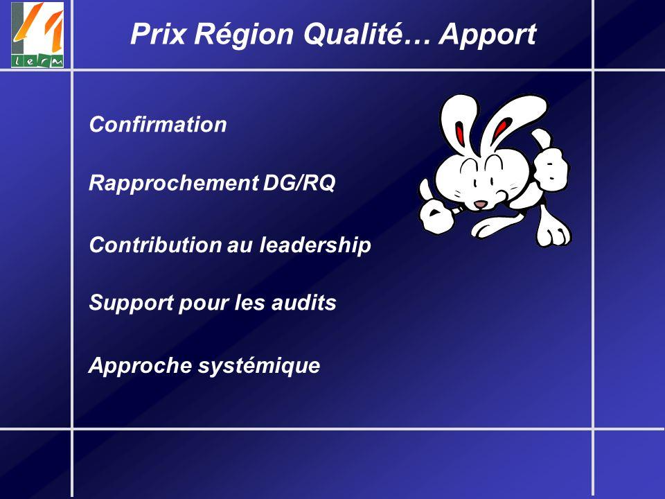 Prix Région Qualité… Apport