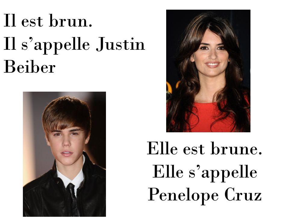 Il est brun. Il s'appelle Justin Beiber Elle est brune. Elle s'appelle Penelope Cruz