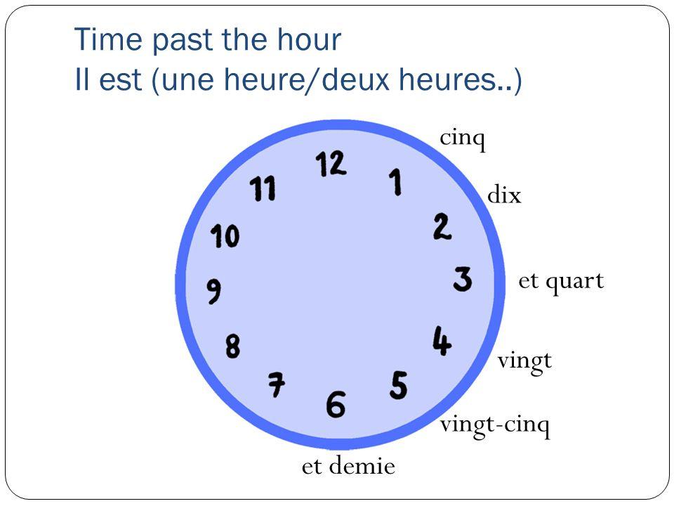 Time past the hour Il est (une heure/deux heures..)
