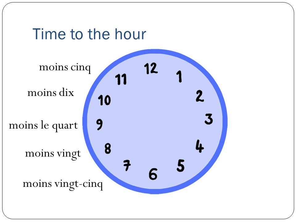 Time to the hour moins cinq moins dix moins le quart moins vingt